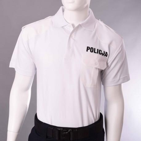 Koszulka polo biała Policja